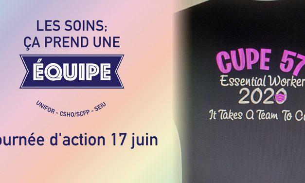Le SCFP, le SEIU et Unifor organiseront des manifestations conjointes le 17 juin pour étendre la rémunération pandémique à tous