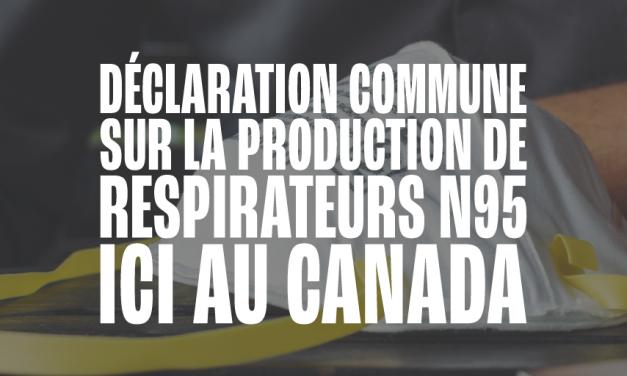 Production nationale de respirateurs N95 : services essentiels et production essentielle