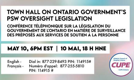 Town hall – PSW Oversight Legislation